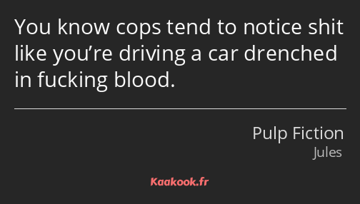You know cops tend to notice shit like you're driving a car drenched in fucking blood.