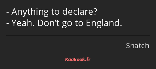 Anything to declare? Yeah. Don't go to England.