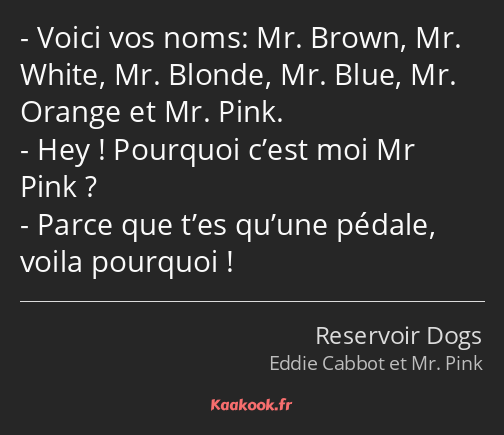 Voici vos noms: Mr. Brown, Mr. White, Mr. Blonde, Mr. Blue, Mr. Orange et Mr. Pink. Hey ! Pourquoi…
