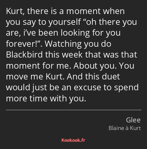 Kurt, there is a moment when you say to yourself oh there you are, i've been looking for you…