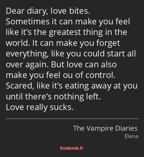 Dear diary, love bites. Sometimes it can make you feel like it's the greatest thing in the world…