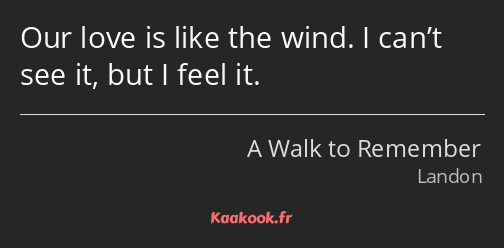 Our love is like the wind. I can't see it, but I feel it.
