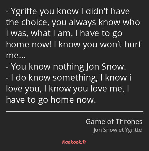 Ygritte you know I didn't have the choice, you always know who I was, what I am. I have to go home…
