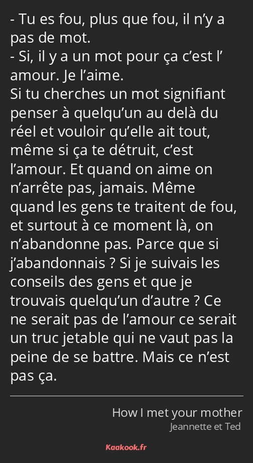 Citation Tu Es Fou Plus Que Fou Il N Y A Pas De Mot