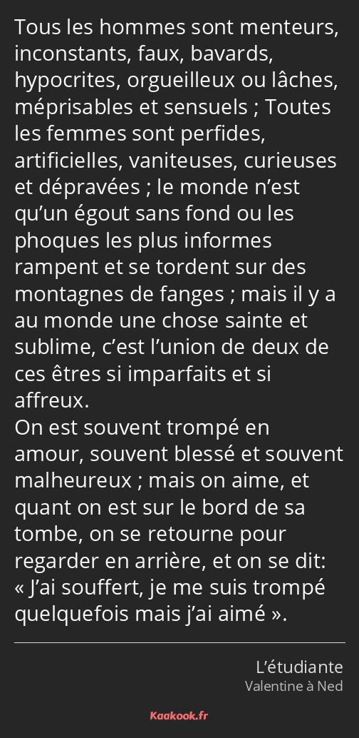 Citation Tous Les Hommes Sont Menteurs Inconstants Kaakook