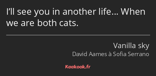 I'll see you in another life… When we are both cats.