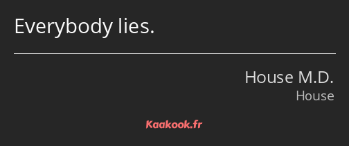 Everybody lies.