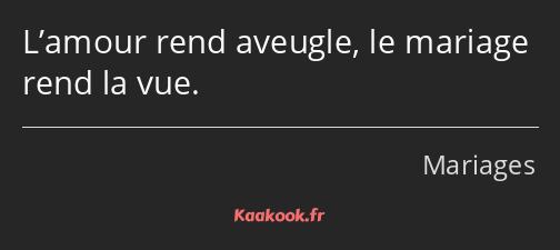 Citation L Amour Rend Aveugle Le Mariage Rend La Vue