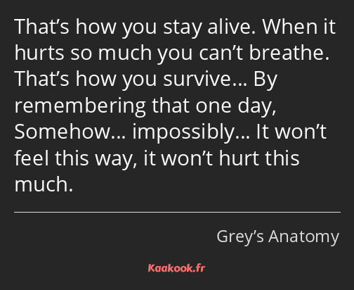 That's how you stay alive. When it hurts so much you can't breathe. That's how you survive… By…