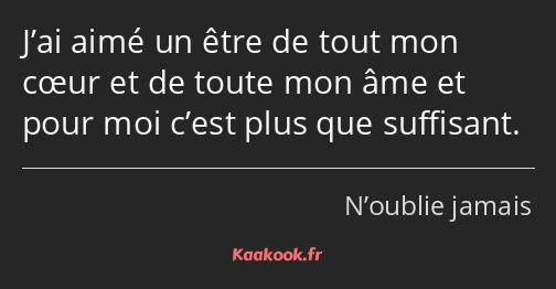 Citation J Ai Aimé Un être De Tout Mon Cœur Et De Toute